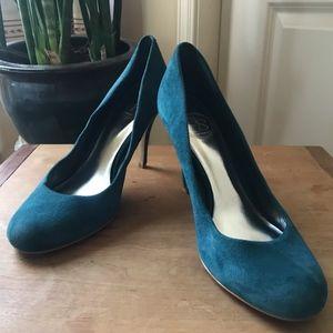 Jessica Simpson Blue Suede High-Heeled Pumps
